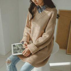 JUSTONE - V-Neck Drop-Shoulder Long Sweater
