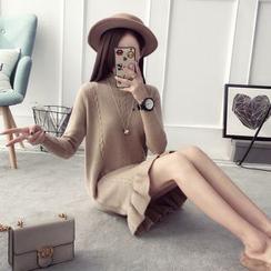 Qimi - 長袖荷葉擺針織連衣裙