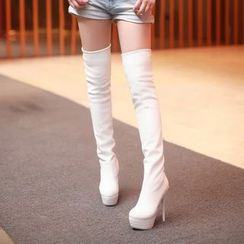 Shoes Galore - Platform High Heel Over The Knee Boots