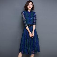 Diosa - Long-Sleeve Lace Midi Dress