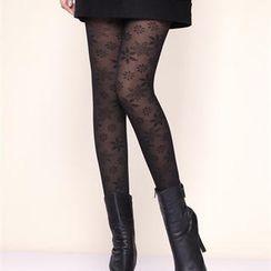Moonbasa - Sheer Fleece-Lined Printed Leggings
