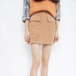 Hanme - 燈芯絨鉛筆裙
