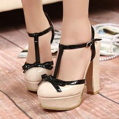 Mancienne - T-Strap Bow-Accent High-Heel Sandals