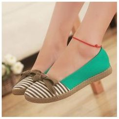 BAYO - Bow-Accent Striped Flats