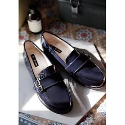 GOROKE - Round-Toe Buckled Patent Loafers