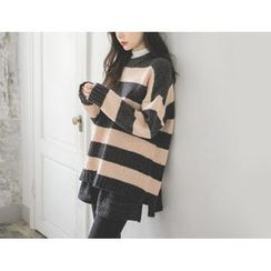JUSTONE - Dip-Back Stripe Loose-Fit Sweater