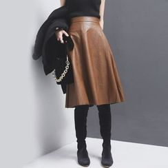 Sonne - Faux-Leather A-Line Midi Skirt