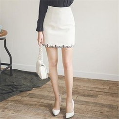 ode' - Perforated-Hem Mini Skirt