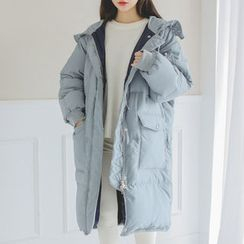 JUSTONE - Hooded Duck-Down Long Puffer Coat