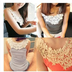 Little Flower - Sleeveless Lace Panel Top