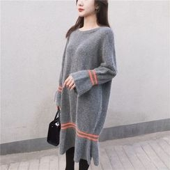 Bloombloom - Striped Long Sleeve Knit Dress