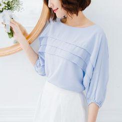 Tokyo Fashion - Pleated Chiffon 3/4-Sleeve Top