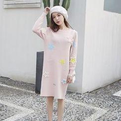 Romantica - Long-Sleeve Beaded Applique Knit Dress