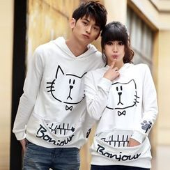 NoonSun - Couple Matching Cat Print Hoodie
