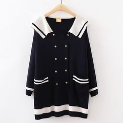 ninna nanna - Sailor Collar Double Breasted Long Sleeve Knit Dress