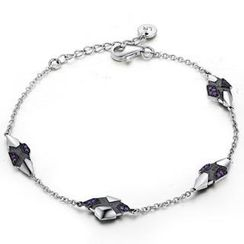 MBLife.com - Left Right Accessory - 925 Silver Meteorolite Shaped with Purple CZ Bracelet