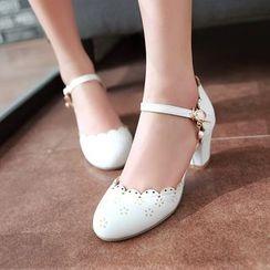 Shoes Galore - Ankle Strap Brogue Pumps