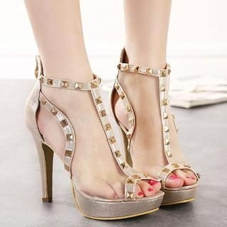 Mancienne - Studded Mesh Heel Sandals