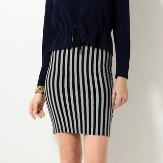59 Seconds - Slit-Back Striped Pencil Skirt