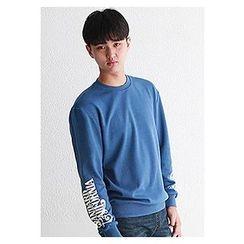 HOTBOOM - Crew-Neck Lettering-Sleeve Sweatshirt