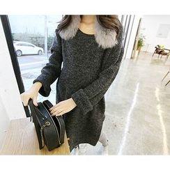 MARSHMALLOW - Slit-Side Melange Long Sweater