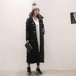 NANING9 - Hood Zip-Up Long Padded Coat