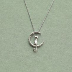 Love Generation - Moon Cat Sterling Silver Pendant Necklace