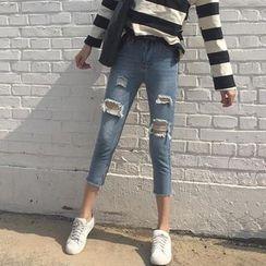 Anlay - Slim-Fit Distressed Cropped Denim Jeans