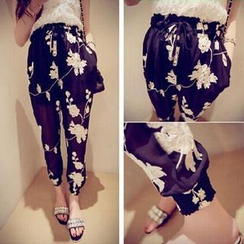 QZ Lady - Floral Embroidered Sheer Pants