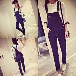 Jeans Kingdom - 窄身背带裤