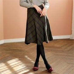 MAGJAY - Zip-Side Checked Skirt
