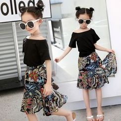 Moon Princess - Kids Set : Short-Sleeve Top + Print Midi Skirt