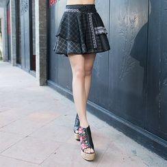Ebbie - Plaid Layered A-Line Skirt