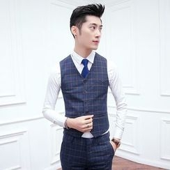 Besto - Window Pane Plaid Suit Vest