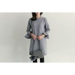 UPTOWNHOLIC - Ruffle-Sleeve Wool Blend Dress