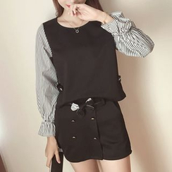 AMELA - Set: Mock Two Piece Striped Panel Long Sleeve Top + Double Breasted Mini Skirt