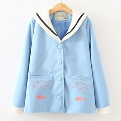 ninna nanna - Sailor Collar Embroidered Woolen Jacket