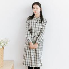 Forest Girl - Plaid Long-Sleeve Shirtdress