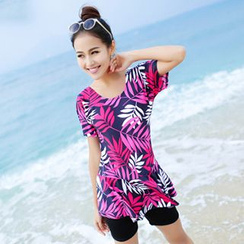 Goldberries - Print Short-Sleeve Swimsuit