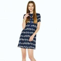 O.SA - Short-Sleeve Patterned Drawstring-Waist Dress