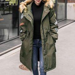 Seoul Fashion - Faux-Fur Trim Hooded Patched Long Parka