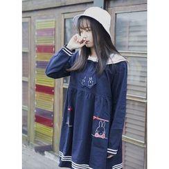Moricode - 长袖水手饰领连衣裙