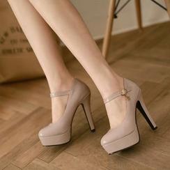 Pastel Pairs - 厚底踝带高跟鞋