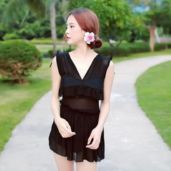 Rachel Swimwear - 套裝: 荷葉邊連體泳衣 + 短裙