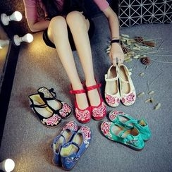 Diosa - Embroidered Frog-Button Flats