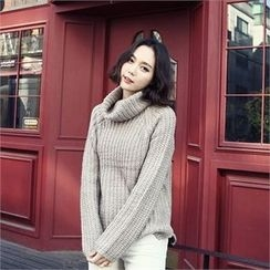 JVLLY - Turtle-Neck Loose-Fit Chunky-Knit Sweater