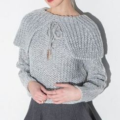 Obel - Bow Accent Chunky Knit Sweater