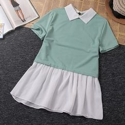 Emilia - Short-Sleeve Collared Panel Chiffon Dress