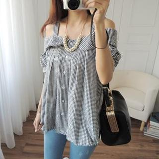 CYNTHIA - Off-Shoulder Gingham Top