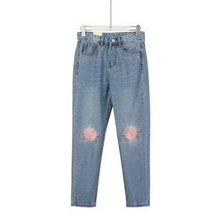 Momewear - Embroidery Tapered Jeans